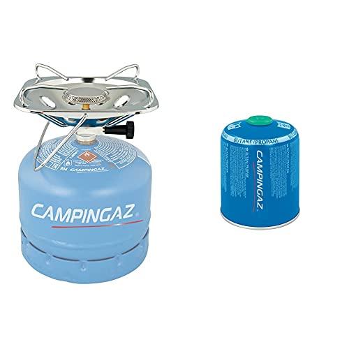 Campingaz Hornillo Gas Super Carena R, Cocina Portátil, 1 Fuego + CV 470 Plus Easy-Clic Cartucho Gas con Valvula, para Cocina Camping, Compacto y Recipiente Sellable