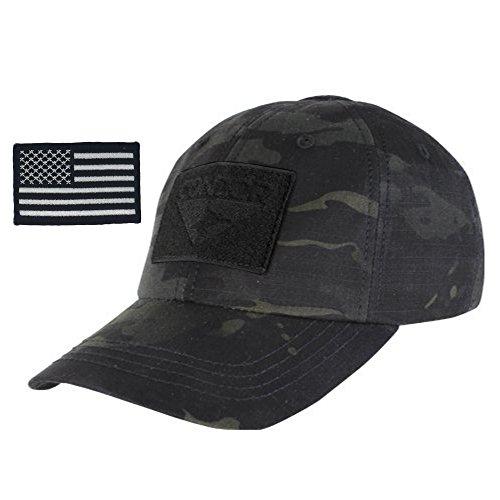 Condor Multicam Tactical Cap & USA Flag Patch Stitching & Excellent Fit for Most Head Sizes (Black Multicam)