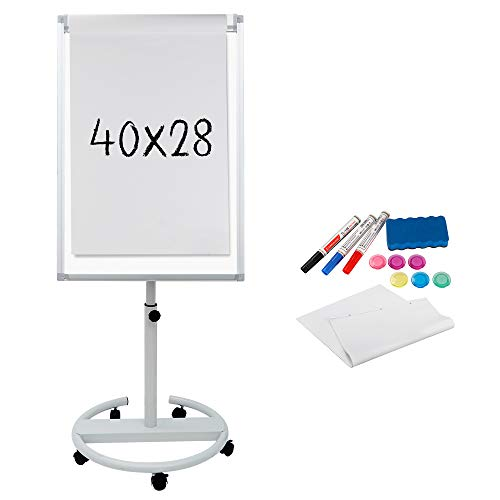 F2C 40 x 28 inch Mobile Magnetic Whiteboard Portable Dry Erase Board Height Adjustable Easel Board with Rolling Stand, w/ Eraser, 3 Markers, Flipchart Paper Pad, 6 Magnets