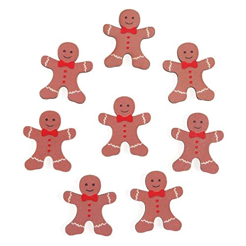 Embellishments Wooden Gingerbread Man Sticker x 8 Christmas Card Paper Craft
