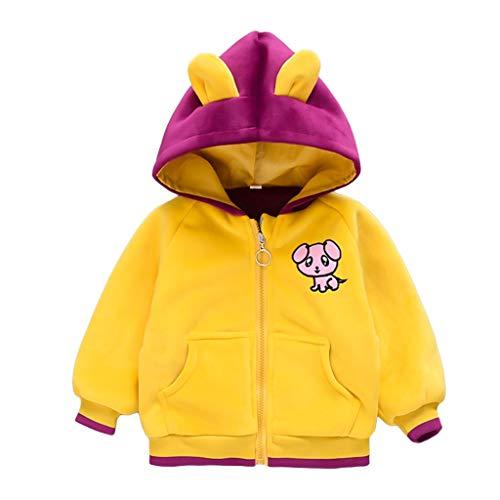 Kinder-Outfit, warm, Cartoon-Tier-Jacke mit Reißverschluss, Kapuzenmantel, Tops für den Winter Gr. 6-12 Monate, gelb