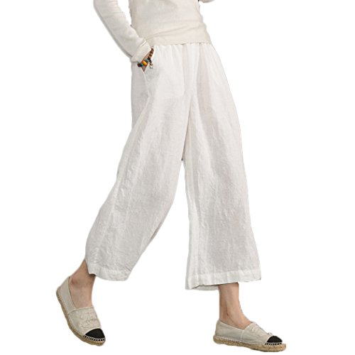 Ecupper Womens Casual Loose Elastic Waist Cotton Trouser Cropped Wide Leg Pants White 18-18W