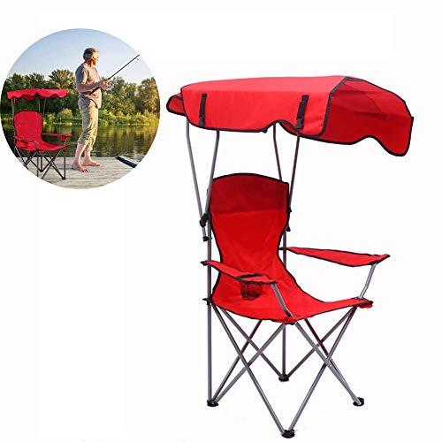 Dalovy Gartenliege Bequemer Klappbarer Campingstuhl mit Sonnenschirm für Garten, Balkon, Terrasse, Rot
