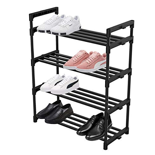 Rakumi Multi-Tier Foldable Bamboo Shoe Rack Multifunctional Free Standing Shoe Shelf Storage Organizer(5-Tier)