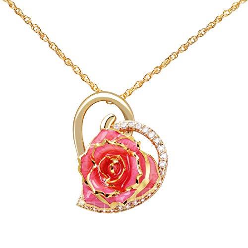 Rose hanger halsketting 24 karaat goud gedompeld echte roze halsketting met/verstelbare ketting, hartvormige roos halsketting geschenken voor vrouw, moeder vrouwen meisjes Moederdag (roze)