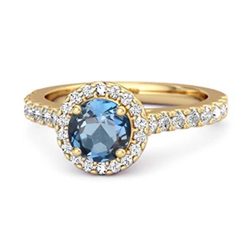 Shine Jewel Multi Elija su Piedra Preciosa Anillo De Acentos Solitario Chapado En Oro Amarillo De Plata De Ley 925 De 0.25 CT (10, topacio Azul Londres)