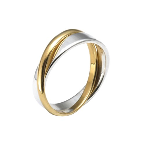 Silverly Band Ring voor dames, uniseks, 925 sterling zilver, 18 karaats goud, gepolijst