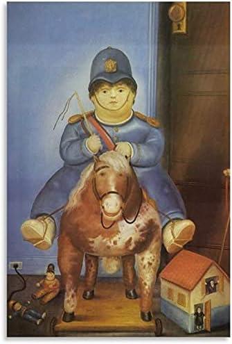 Iooie Lienzo Y Arte De Pared PóSter Fernando Botero Pedro a Caballo para decoración Familiar Pintura Pared Y Estampados Cuadros 23.6