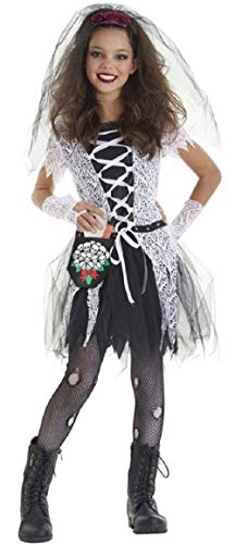Fancy Me Mädchen 4 Stück Gothik Toten Braut Halloween Kleid Kostüm Schuhe 4-12 Jahre - Schwarz, 7-9 Years