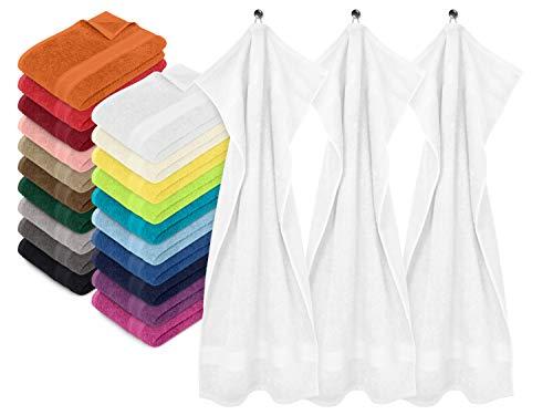npluseins 3er-Pack zum Sparpreis - solide Frottiertücher - erhältlich in 20 modernen Farben und 8 verschiedenen Größen, Handtuch (50 x 100 cm), weiß