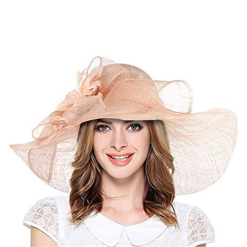 Daxiong Damen Sonnencreme Strandhut, große Kante Anti-UV-Becken Mütze Faltbare Fischer Hut für Hochzeitsfest Fotografie Urlaub im Freien und täglich, A,D