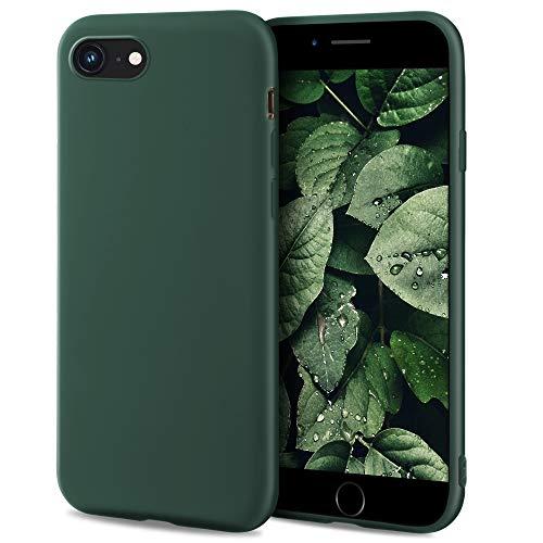 Moozy Minimalist Series Silikon Hülle für iPhone SE 2020, iPhone 8 und iPhone 7, Dunkelgrün - Mattes Finish, Dünne, Weiche TPU-Handyhülle Schutzhülle