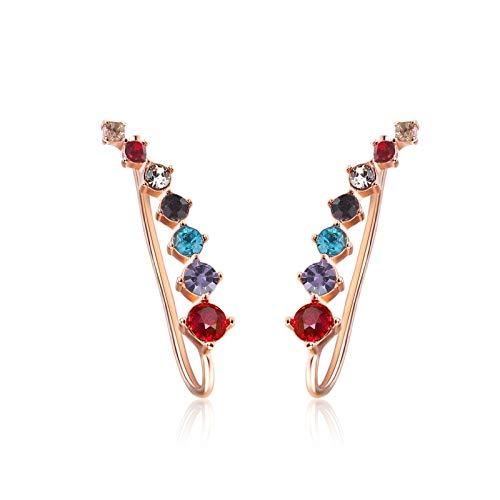 LUOSI Long Dipper Ear Hook Clip Earrings For Women Four-Prong Setting 7pcs CZ Rose Gold Color Fashion (Metal Color : RoseGold Multi)