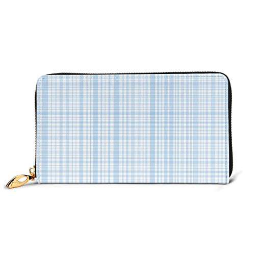 Women's Long Leather Card Holder Purse Zipper Buckle Elegant Clutch Wallet, Plaid Quilt Pattern with Squares and Lines Abstract Traditional Arrangement,Sleek and Slim Travel Purse