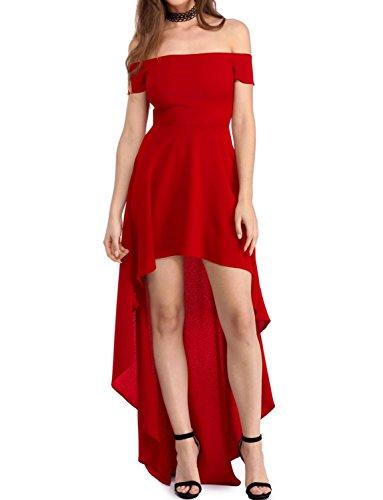elegante abito cerimonia da donna vestito lungo damigella scollo barchetta festa party-Black-XXL
