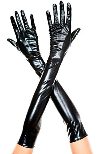 Music Legs Women's Extra Long Metallic Gloves, Black, One Size