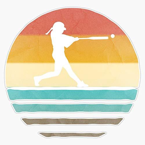 "EMC Graphics Retro Vintage Softball Coach Player Team Mom Dad Gift Vinyl Waterproof Sticker Decal Car Laptop Wall Window Bumper Sticker 5"""