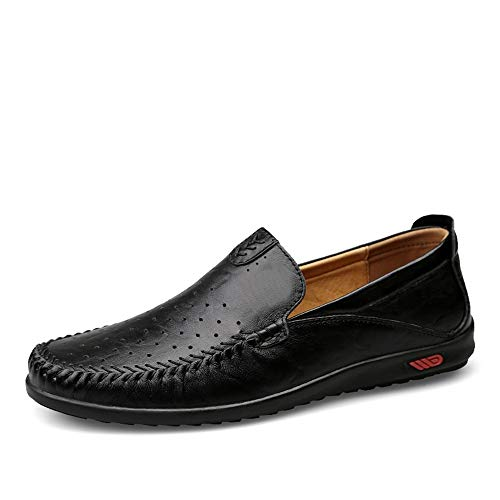 Neivobos Sommer Perforierte Oxford for Männer lässig Fahren Loafer Beleg auf Slipper echtes Leder Stitching Boot Moccasins (Color : Black, Size : 44 EU)