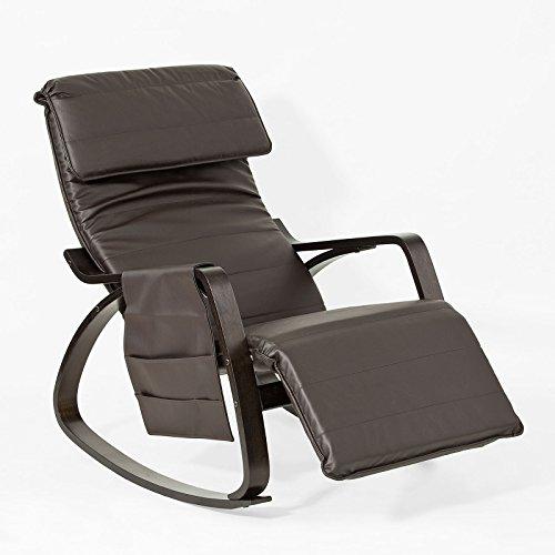 SoBuy FST20-BR NEU Schaukelstuhl mit Tasche 5-Fach verstellbares Fussteil Schwingsessel Relaxsessel schwarzes Gestell aus PU Belastbarkeit 150kg Dunkelbraun