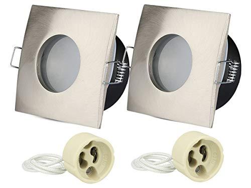 LEDLUX 2 unidades de portalámparas impermeables IP54 para ducha cabina baño debajo del techo, orificio de 75 mm, portalámparas GU10 incluidos