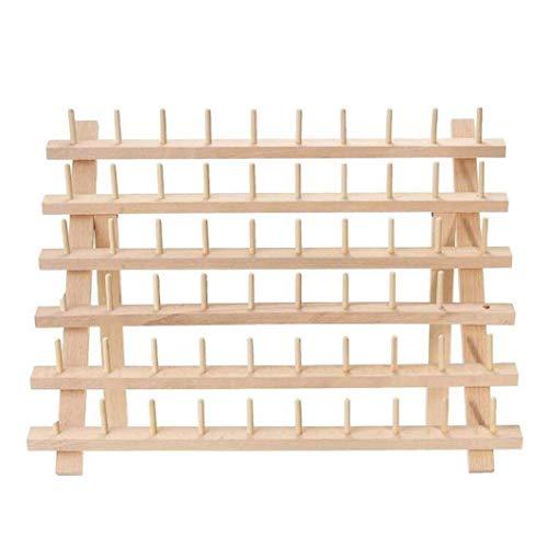 ALIKEE 60 bobinas de hilo de madera organizador con ganchos para colgar para bordar y coser hilos