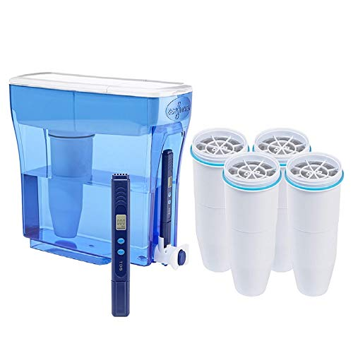 ZeroWater 23-Cup Pitcher with Replacement Filters and Water Quality Meter (with 5 Filter)