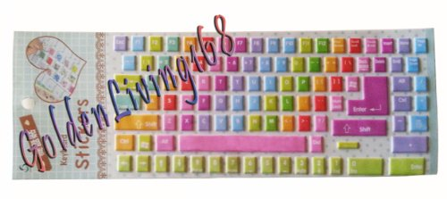 Leuke Rainbow Desktop Laptop Computer Toetsenbord Stickers/Stickers Cover Protector Grote Letters