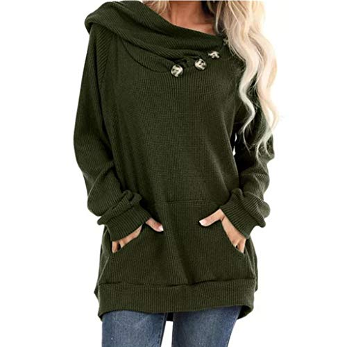 Binggong Damen Langarmshirt Solide Button Down Pullover Hoodie Frauen Casual Herbst Oberteil Tunika Top Blusen Shirt