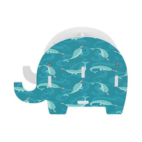 Blue Kawaii Narwhals 67 - Soporte para teléfono celular, diseño de elefante de madera, soporte multifunción extraíble para teléfono móvil, organizador de escritorio para iPhone iPad SmartphoneTablet