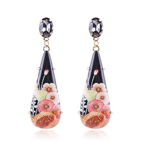 YAZILIND gota de agua de flores estampación de diamantes de imitación gota cuelgan gancho perforado aretes regalo de la joyería