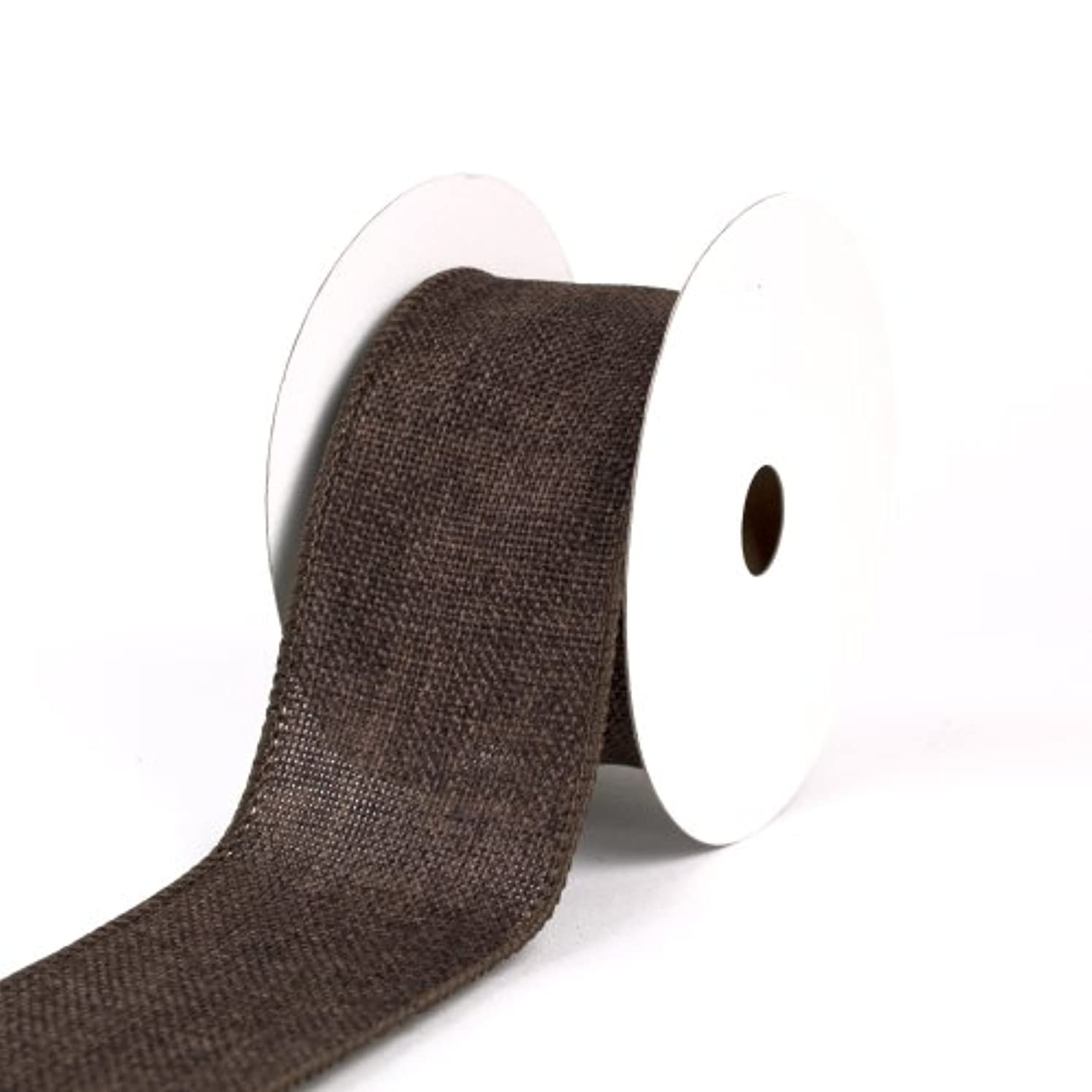 Creative Ideas Wired Burlap Ribbon, 2-1/2-Inch, Brown