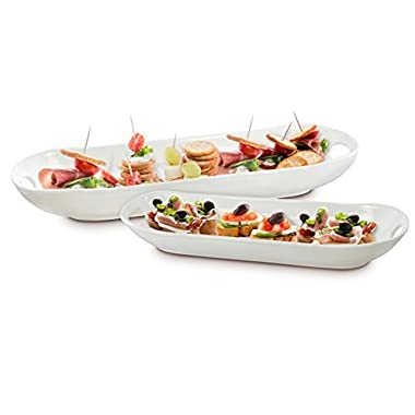 KOVOT Set of 2 Porcelain Serving Dishes | For Serving Appetizers, Snacks, Sides And All Kinds Of Finger Food