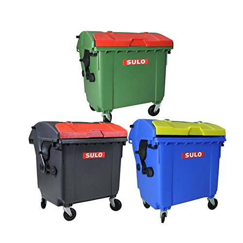 Sulo Mini Müllcontainer 3er Set 1100l Mini-Müllcontainer original grau grün blau Miniatur Mülltonne Küchenabfalleimer Kleinaufbewahrung Spielzeug-Mülltonne