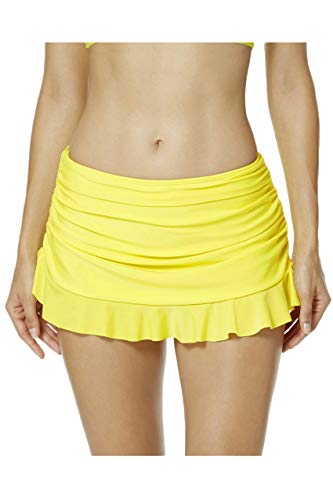 Emmay Damen Schwimmrock Frauen Baderock Bikinirock Badeshorts Volant Wesentlich Strandrock Einfarbig Damen Mode Vintage Casual Hosen (Color : Gelb, One Size : EU 42 (12))