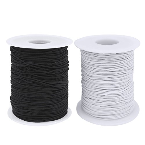 Dreamtop 2 Roll 0.8mm Elastic Cord Beading Thread Stretch String Craft Cord for Jewelry Making Bracelet Beading, White and Black(100m)