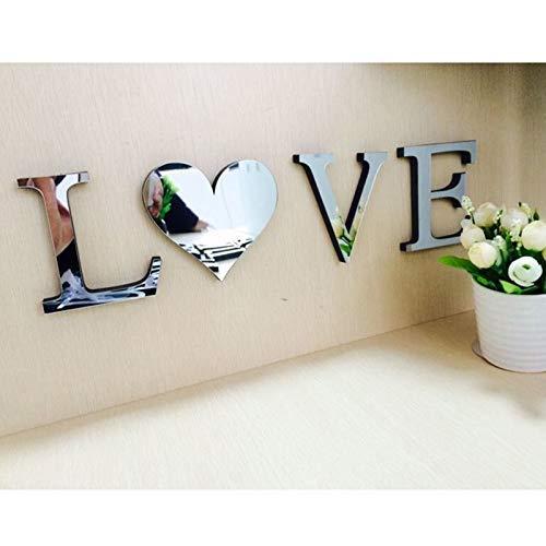 YUEMA DIY dekorative High-End-Spiegel Wandaufkleber kreativen Spiegel TV Hintergrund Schlafzimmer Korridor Dekoration Wandtattoo Wanddekoration (LOVE silber)