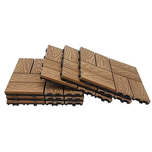 "famobay Wood Plastic Composite Patio Deck Tiles (12"" x 12"", 6 PCs,3D Checked Teak),DIY Interlocking Decking Tiles, Floor Tile,Durable, Maintenance,Waterproof,Anti-Slippery,Indoor Outdoor"