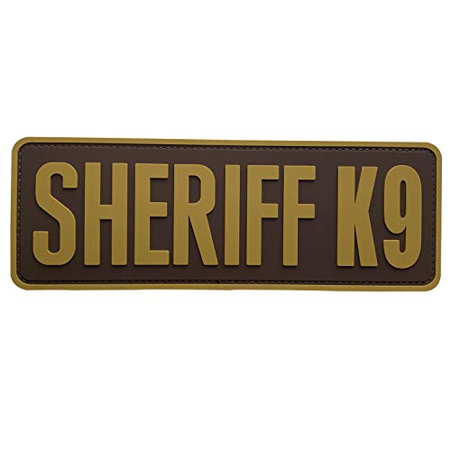 uuKen Coyote Tan Sheriff K9 Patch PVC Patch 8.5x3 inch for Tactical Training Working Plate Carrier Tac Vest Bags(Coyote Tan, L 8.5'x3')