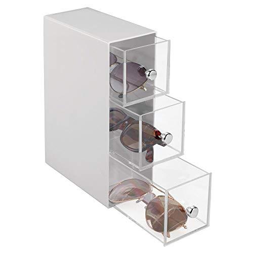 mDesign Mini cassettiera da scrivania – 3 cassetti scrivania in plastica – Pratica Mini cassettiera da scrivania Perfetta Come Porta Occhiali – Grigio Chiaro/Trasparente
