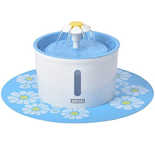 LYLBFOF ペット給水器 自動給水器 猫 犬 水飲み器 大容量 循環式給水器 活性炭フィルター付き シリコンマット付き 水位窓 花 健康 衛生 鳥 小動物用 (青)