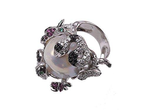 JYX - Anello da donna con perle barocche, stile serpente, colore: bianco