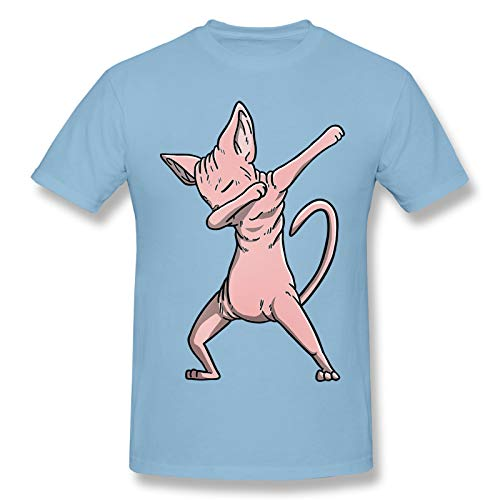 Dabbing Sphynx Cat Men Standard Tee Sky Blue 3XL