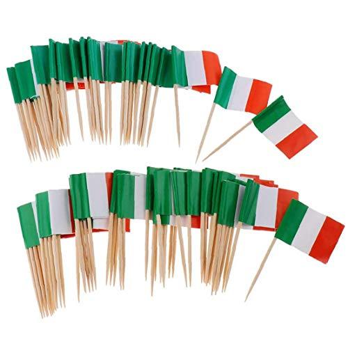 Berrywho 100pcs Papier Italien-Flagge Picks Mini Fruit Cocktail Essen Zahnstocher Sticks Flagge