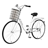 """PEXMOR 26"""" Adult Hybrid Bike with Thickened High-Carbon Steel Frame, Single Speed Beach Cruiser Bike with Mirror & Canvas Front Basket, Rear Rack Retro Commuter Bike, Front & Rear Fender"""