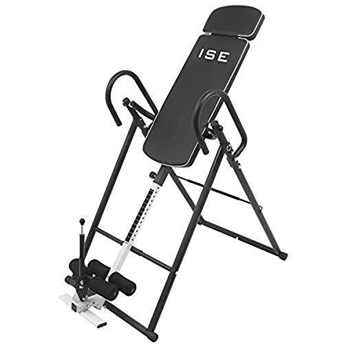 ISE Inversión mesa ajustable plegable máquina de inversión, equipo de ejercicio reduce dolor de espalda/cuello, con respaldo cómodo, altura de hasta 185 cm, máximo 100 kg, SY-ES1012