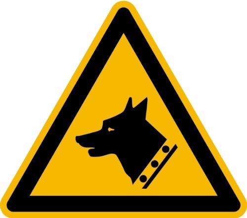 Aufkleber Warnung vor dem Wachhund gemäß DIN 7010 Folie selbstklebend 100 mm (freilaufender Hund, Warnschild) praxisbewährt, wetterfest