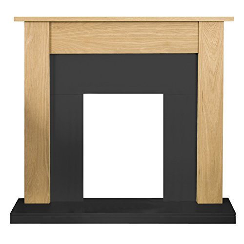 Adam Southwold Fireplace in Oak and Black, 43 Inches