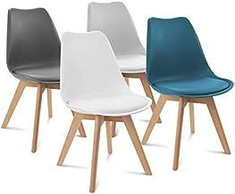IDMarket - Lot de 4 chaises SARA Gris foncé, Gris Clair, Blanc et Bleu