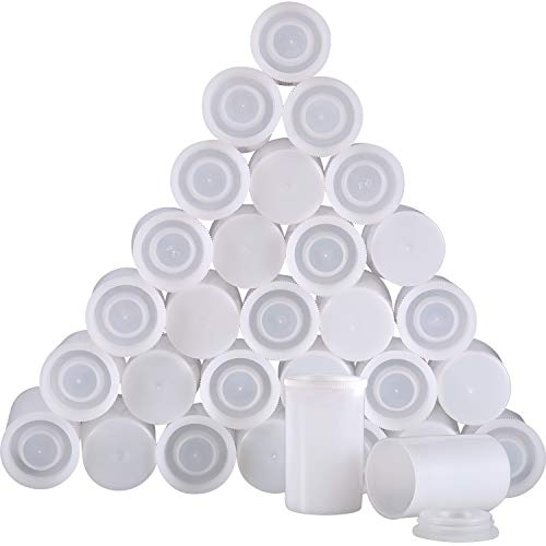 30 Pieces Plastic Film Canister Holder, 35 mm Empty Camera Reel Containers, Storage Containers Case with Lids for Storing Small Accessories, Film, Keys, Coins, Art Beads (White)