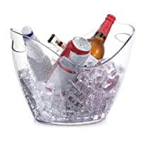 アイスバケツ、透明な氷のバケツ、ハンドルと装飾シャンパンバケット、ワイン、ビール、スパークリングワインやソフトドリンクのための理想的なアイスバケツ